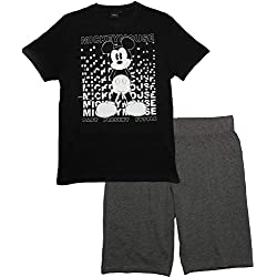 Mickey Mouse, Pyjama Court Homme, Noir, L