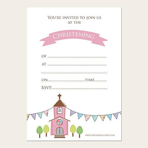 Bautizo invitaciones - chicas iglesia y banderines - 10 unidades