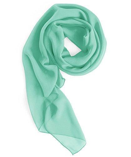 Homrain donna elegante chiffon scialle sciarpa sera prom stola di colore pianura mintgreen l