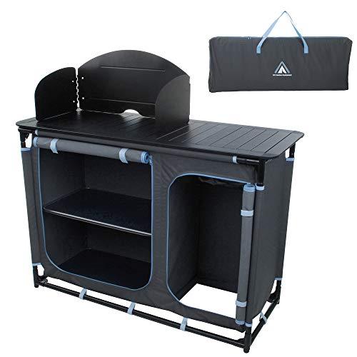 10T Outdoor Equipment Unisex - Cucina da campeggio per adulti Camp Cook Plus Armadio da campeggio con paravento lavello a gas grigio XXL