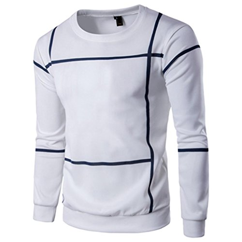 Preisvergleich Produktbild Mens Fashion Striped Langarm Sweater, Kaiki Herren Pullover Mantel O Neck Shirt Outwear (M, White)