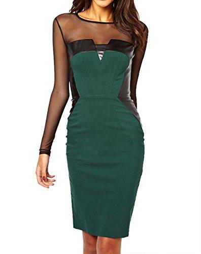 E-Girl vert Midi robe avec PG et empiècements mesh,Vert Vert