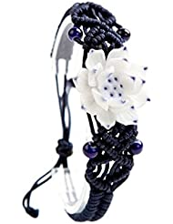 [Lotus] fleur de style chinois Belle Art Céramique Ornement Bracelet, 2 Pcs