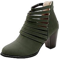 ZODOF Botas Verdes Y CóModas Vintage Mujer OtoñO Zapatos Cremallera Tobillo Punta Redonda Roma Botas Cortas Zapatos Individuales