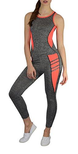 S&LU tolles Damen Sport-, Fitness-, Running-Outfit in Angesagten Neon-Farben - Top und Tight ALS Spar-Set - Größe S-XL (L/XL, orange)
