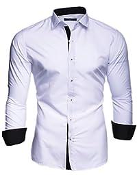 Kayhan Hombre Camisa Manga Larga Slim Fit S M L XL 2XL - Modello Twoface + London