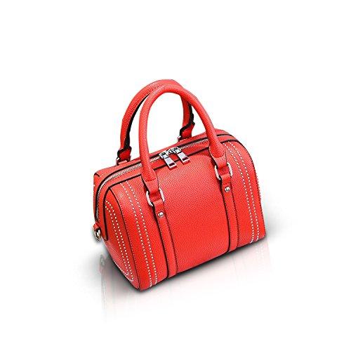 NICOLE&DORIS Crossbody Borsa Cartella alla Spalla Messenger Casual Rivetto Boston Bag di PU Soft Donne Grande Rosso