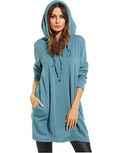 Kidsform Femme Robe Sweat à Capuche Manche Longue Pull Tunique Casual Sweat-Shirts Z Bleu S