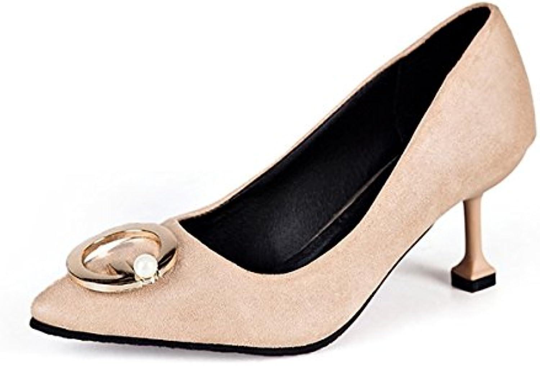 DIMAOL Damenschuhe PU Fallen Komfort Heels Stiletto Heel Schuhe für Casual Khaki Gelb Schwarz