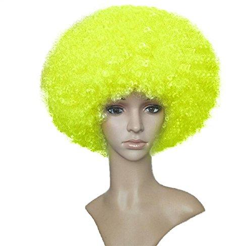 SUNWUKONG Lockig Perücke Clown Haar Funky Voll Kopf Explosiv Perücke Hoch Temperatur Faser Haar Frau Cosplay Party Schick Kleid Halloween Kostüm, Yellow