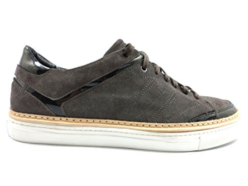 alessandro-dellacqua-ky337-mens-sneakers-11-uk-45-eu-grey-black-suede-patent-leather