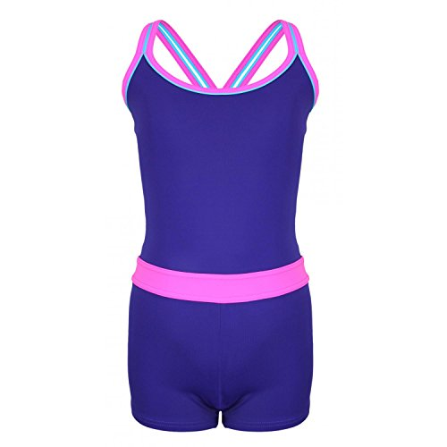 1814de0f7582 Aquarti Mädchen Badeanzug mit Bein Racerback , Farbe  Violett   Rosa,  Größe  152