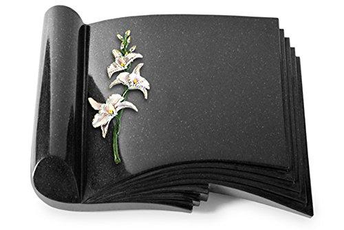Grabbuch, Grabplatte, Grabstein, Grabkissen, Urnengrabstein, Liegegrabstein Modell Prestige 40 x 30 x 8-9 cm Indisch-Black-Granit, poliert inkl. Gravur (Bronze-Color-Ornament Orchidee) (Orchidee Indische)