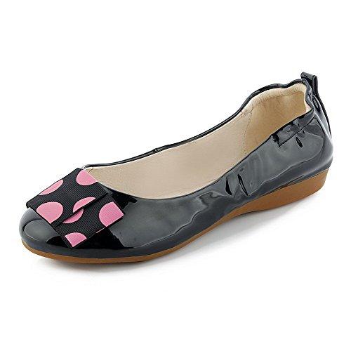 VogueZone009 Femme Pu Cuir Rond Couleur Unie Tire Chaussures Légeres Noir