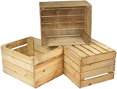 Kistenbaron 3er Set alte Holzkisten - gebrauchte Obstkisten, Weinkisten - Used Look - Für Dekoration, Aufbewahrung oder Möbelbau Land-charme-kerze