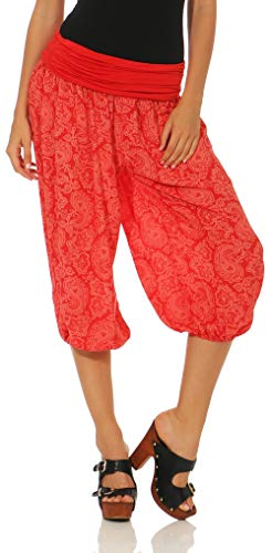 Malito Damen Capri Hose mit Orient Print | Haremshose Zum Tanzen | Pumphose Zum Chillen - Freizeithose 8581 (Rot)