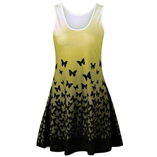 MRULIC Damen Schmetterling Druck ärmelloses Party Kleid Vintage Casual Dress (Gelb,EU-46/CN-2XL)