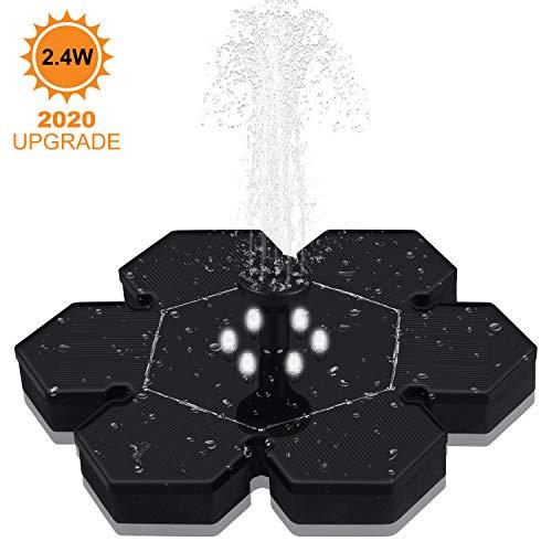 GOOJODOQ Bomba de Fuente Solar Mejorada, 2.4W Polygon Garden Bomba de Agua Solar Flotante Batería...