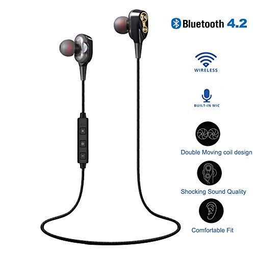 ort in-Ear Kopfhörer, V4.2 IPX5 Schweißresistent Stereo magnetischer Sport Ohrhörer, HiFi Heavy Bass Kopfhörer Dual Dynamic für iPhone, Huawei und Samsung (Schwarz) ()
