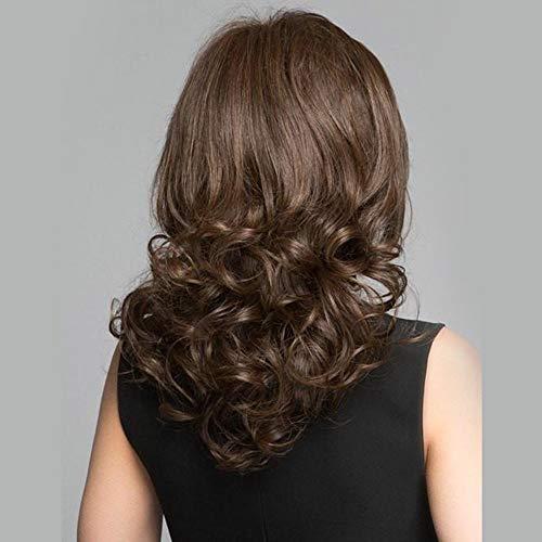 Europäische und amerikanische Perückendamen kurze schräg geschlagene lockige Haare Mode realistisch, braun (Geschlagene Frau Kostüm)