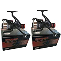 2 x CKR30 Black Fishing Reels Loaded with 6LB Line For Coarse Match Lake River