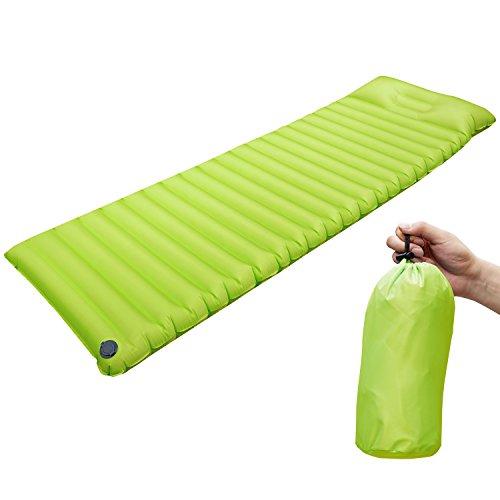 Aufblasbare Luftmatratze Isomatte mit Kopfkissen Wasserdicht Air Matratze Sleeping Pad Ultra Leicht Luftmatratze für Reisen,Camping,Outdoor,Wandern,Strand (Grün)