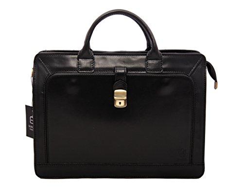 NORRIS Aktentasche Leder Damen Herren große Leder-Tasche Herren-Tasche Dokumententasche Arbeitstasche leichte Notebook-tasche Laptop-tasch...