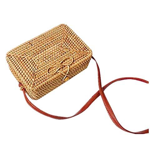 Dasongff Korbtasche Platz Rechteck Tasche Platz Stroh Rattan Taschen Hand Woven Bag Basketbag Straw Handmade Weave Bag Sommer Strand Geldbörse Zuhause Aufbewahrungstasche -