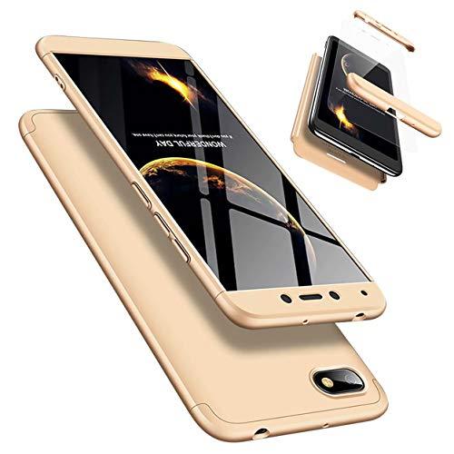 Funda Xiaomi Redmi GO 360°Caja Caso + Vidrio Templado Laixin 3 in 1 Carcasa Todo Incluido Anti-Scratch Protectora de teléfono Case Cover para Xiaomi Redmi GO (Oro)