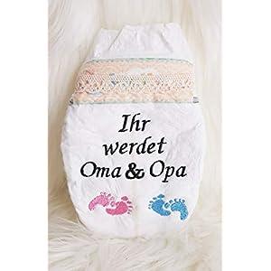 """Bestickte Windel"""" Ihr werdet Oma & Opa"""" Füßchen Schwarze Schrift"""