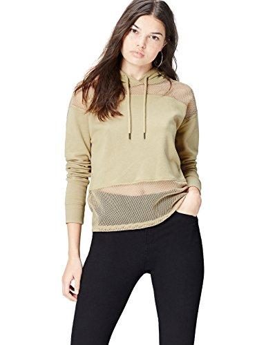 Activewear Hoodie Damen, Grün (Khaki), 36 (Herstellergröße: Small)