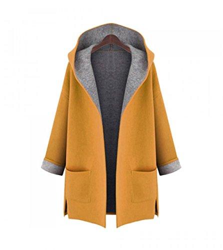 Ducomi® Giacca Cardigan Aperto Donna con Fodera Interna in Cotone, Cappuccio e Doppia Tasca Frontale Yellow