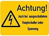 Aufkleber Achtung! Auch bei ausgeschaltetem Hauptschalter unter Spannung Folie 37 x 52 mm (Warnschild Hochspannung, Strom) praxisbewährt, wetterfest