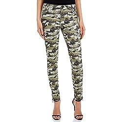 oodji Ultra Mujer Pantalones de Camuflaje con Cremalleras Decorativas, Verde, ES 44 / XL