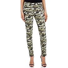 oodji Ultra Mujer Pantalones de Camuflaje con Cremalleras Decorativas