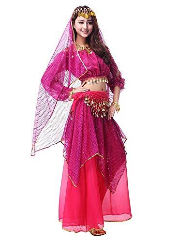 Indian Princess Kostüm - Yuyudou Frau Bauchtanz Kleidung, Indian Princess Theme Bauchtanz Kostüm Set, Damen Professional Tanz kostüme,Pink,L