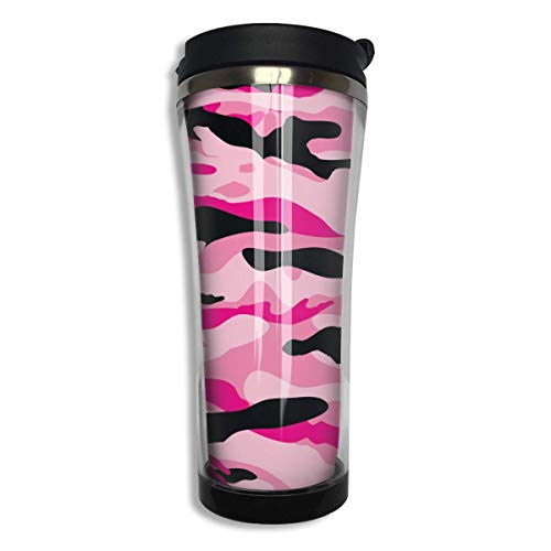 Military Army Camo Camouflage Black Pink Sports Coffee Mug Tumbler Drink Bottle with Liquid Tight 14 OZ - 14 Oz Commuter Mug