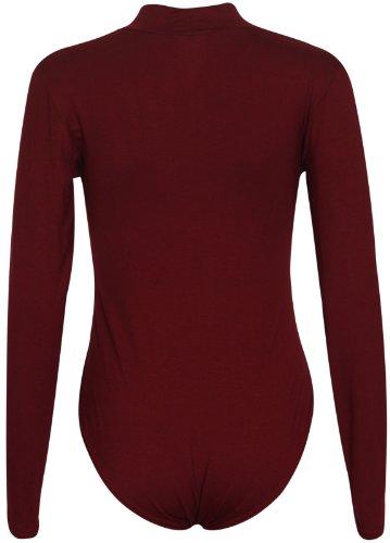 Damen Polo Hoch Rollkragen Damen Langärmlig Stretch Druckknopf Druckknopfverschluss Turnzug Bodysuit T-Shirt Top Burgunderrot