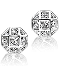 BIG Tree 18K White Gold Plated Silver CZ Diamond Cage Earring For Women.