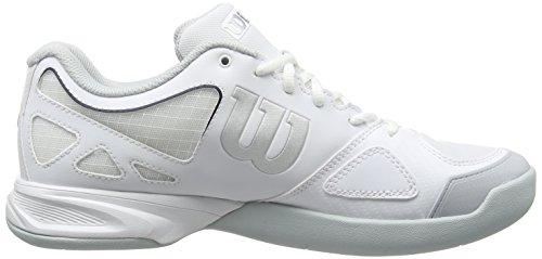Wilson Rush Evo Carpet Wh/Pearl Blue/Ny, Chaussures de Tennis Homme Blanc (White/Pearl Blue/Navy)
