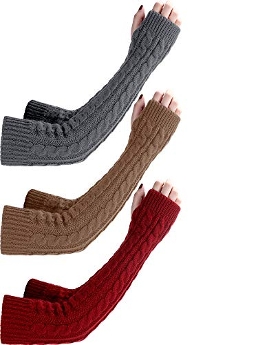 Bememo 3 Paar Armwärmer Winter Lange Fingerlose Handschuhe Stricken Pulswärmer mit Daumenloch für Damen Mädchen (Dunkelgrau/Khaki/ Weinrot)