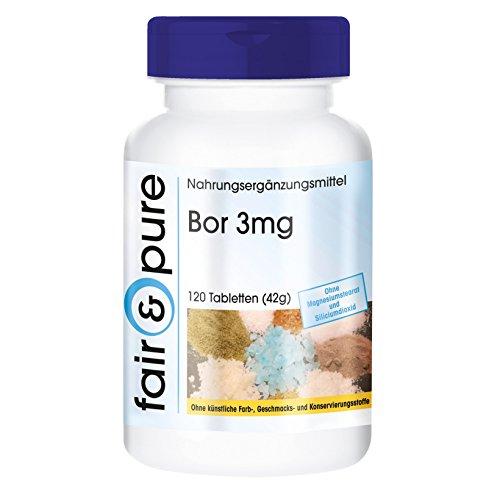 120 comprimidos vegetarianas de boro (3 mg) - Con tetraborato de sodio - Sustancia pura sin aditivos