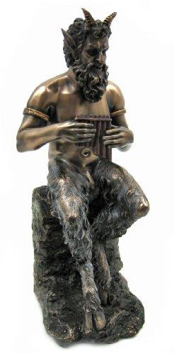 Bronzed Finish Pan Faun Statue Greek Mythology by Private Label by Private Label - Pan Statue