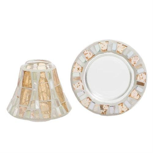 Yankee Candle 1348224 Gold Wave Lamp Shade and Plate Set, Glass, Mother of Pearl, 10 cm x 10 cm x 8.5 cm