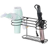mDesign Soporte para secador de pelo para colgar en la pared – Ideal para artículos de peluquería como el secador o el rizador – Repisa de baño de metal con 2 cestas y un estante – color bronce