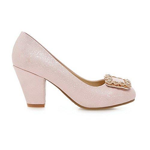 AllhqFashion Femme Rond Fermeture D'Orteil à Talon Haut Couleur Unie Tire Chaussures Légeres Rose