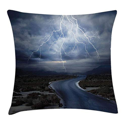FPDecor Nature Kissenbezug, Thunderstorm Over Road Vibrant Strong Beam Before The Sky Blows Weather Image, Decorative Square Accent Pillow Case, 18 X 18 inches, Dark Blue Grey -