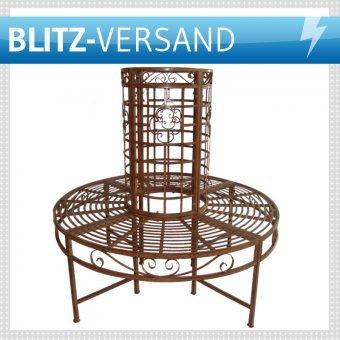 Baumbank Metall Gartenbank Ø121cm - Bronze-Optik