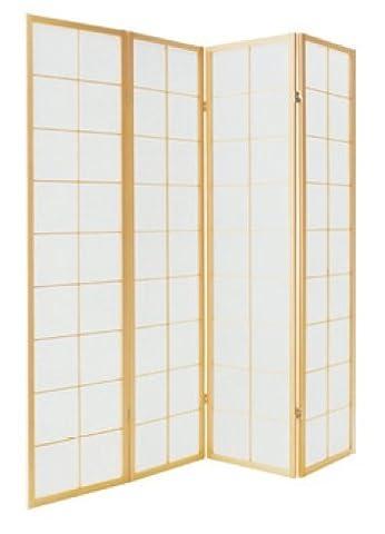 Fine Asianliving séparateur de pièce Paravent Paravent japonais Shoji écran papier de riz 4panneaux traditionnels meubles Home Decor écrans Oriental asiatique en bois naturel–Style japonais (papier de riz)