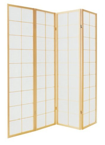 Fine asianliving - Raumteiler Paravent - Shoji Screen Raumteiler Paravent - japanischen Reispapier 4 Panel traditionellen - 112-512 (Shoji-4-panel-raumteiler)